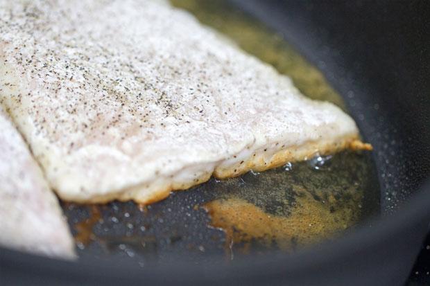 Fish beginning to fry