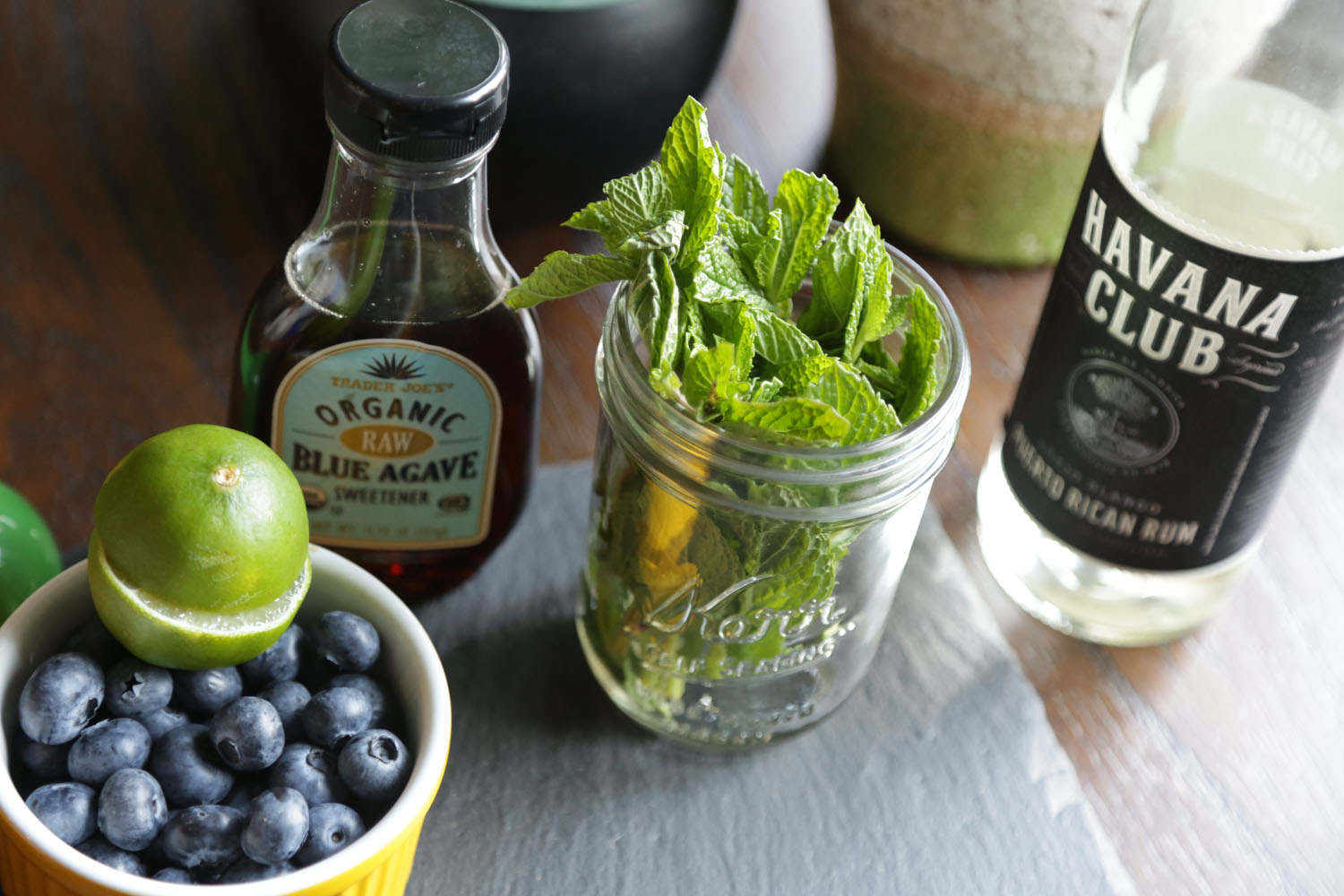 Muddled Mint and Blueberries
