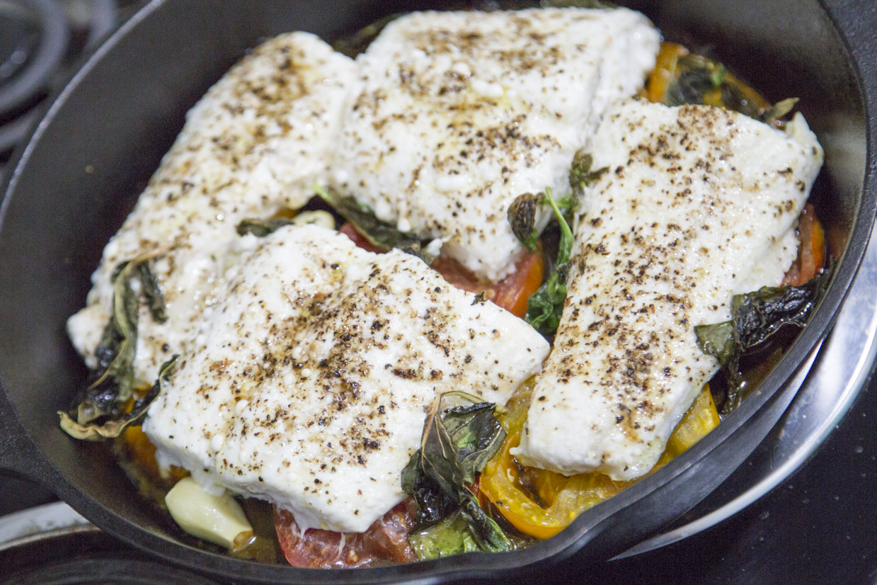Roasted Halibut and Grilled Heirloom Tomato