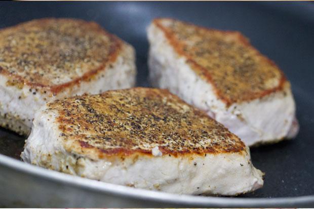 Pork Chops Searing