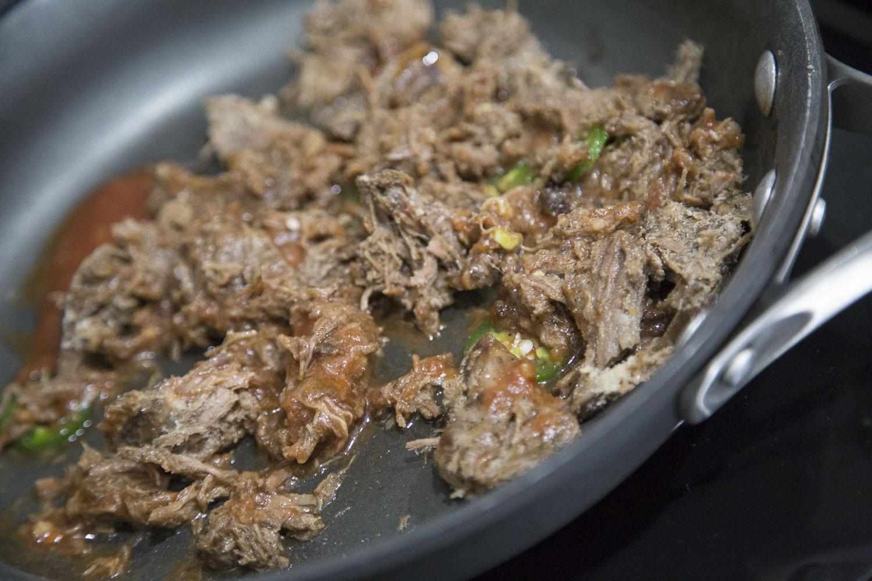 Shredded Beef in skillet