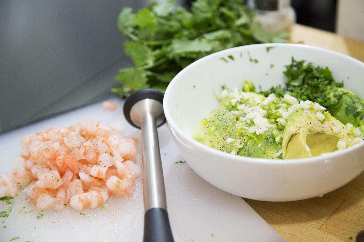 Shrimp Avocado Toast Ingredients Chopped
