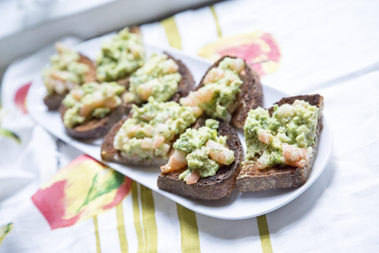 Shrimp Avocado Toast Served
